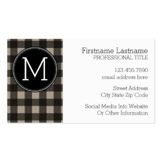 Rustic Linen Black Buffalo Plaid gingham Monogram Business Card