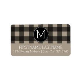 Rustic Linen Black Buffalo Plaid gingham Monogram Personalized Address Label