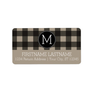 Rustic Linen Black Buffalo Plaid gingham Monogram Label