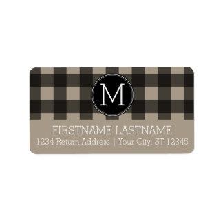 Rustic Linen Black Buffalo Plaid gingham Monogram Label