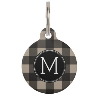 Rustic Linen Black Buffalo Plaid gingham Monogram Pet Name Tag