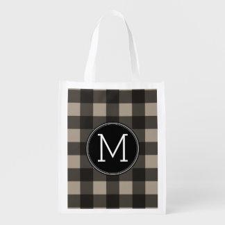 Rustic Linen Black Buffalo Plaid gingham Monogram Reusable Grocery Bags