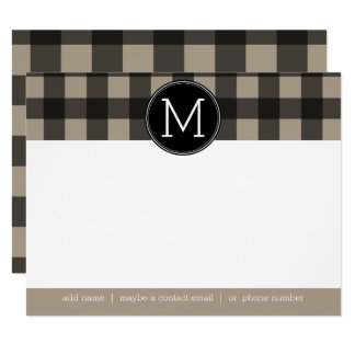 Rustic Linen Black Buffalo Plaid gingham Thank you Card