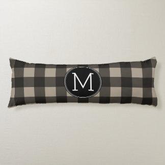 Rustic Linen Black Buffalo Plaid Pattern Monogram Body Pillow