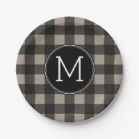Rustic Linen Black Buffalo Plaid Pattern Monogram Paper Plate