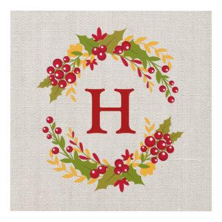 Rustic Linen Burlap Holly Wreath Family Monogram Panel Wall Art
