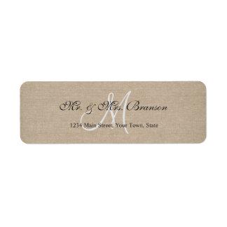 Rustic Linen Canvas Wedding Monogram Initial Label