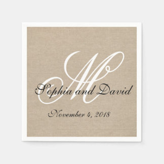 Rustic Linen Canvas Wedding Monogram Napkins