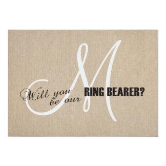 Rustic Linen Canvas Wedding Monogram Ring Bearer Card