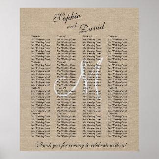 Rustic Linen Canvas Wedding Monogram Seating Chart Poster