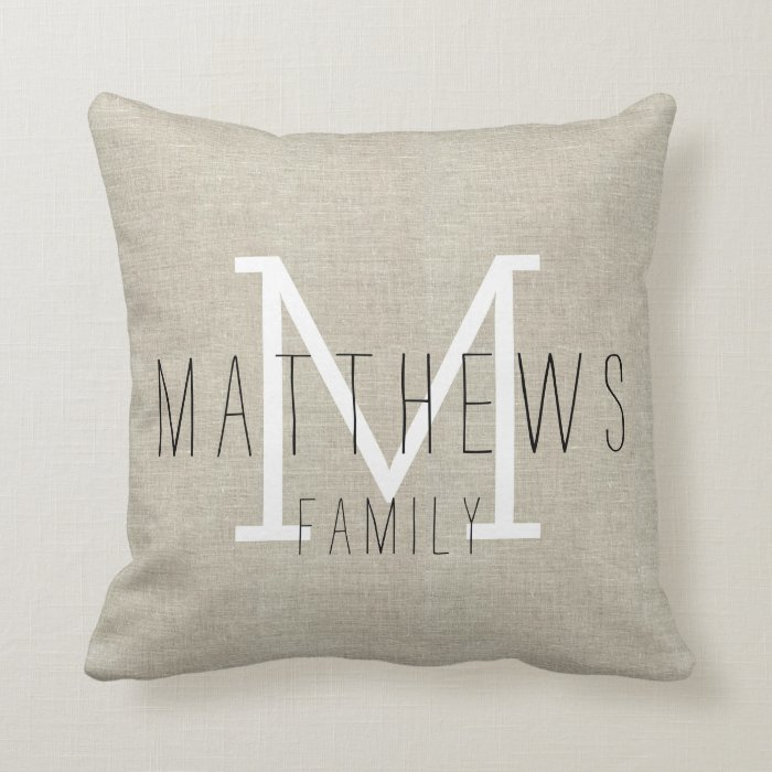 Linen Monogram Throw Pillow: Rustic Linen Family Monogram Throw Pillow