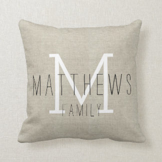 Rustic Linen Family Monogram Throw Pillow