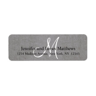 Rustic Linen Gray Monogram for Weddings Label