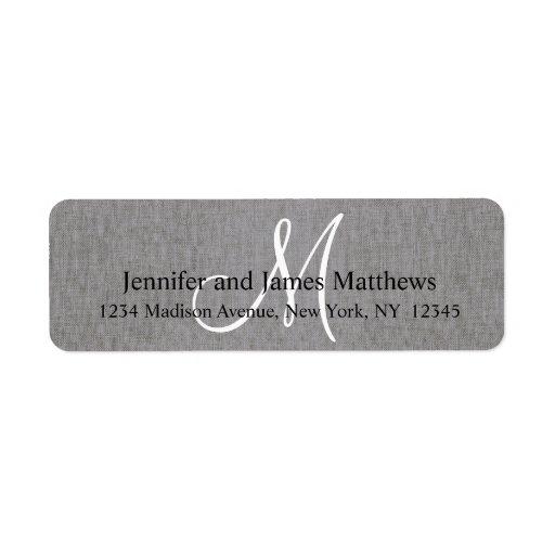 Rustic Linen Gray Monogram for Weddings Custom Return Address Label