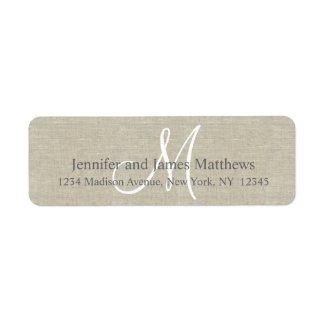Rustic Linen, Grey Monogram for Weddings Custom Return Address Label