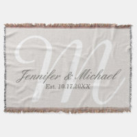 Rustic Linen Look Monogram Throw