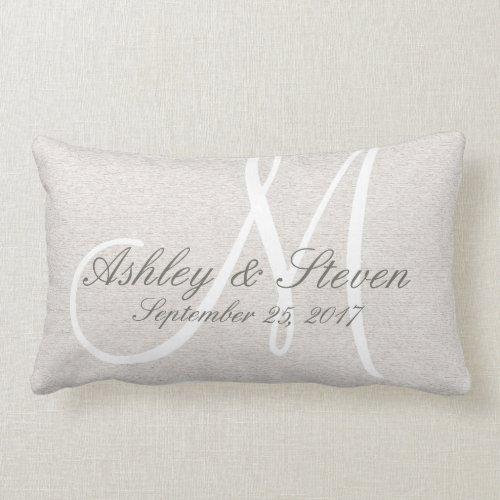 Rustic Linen Look with White Monogram Lumbar Pillow