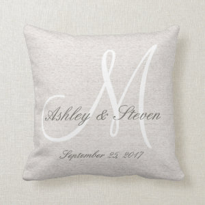 Rustic Linen Look with White Monogram Pillows