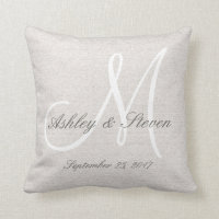 Rustic Linen Look with White Monogram Throw Pillow