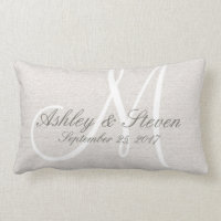 Rustic Linen Look with White Monogram Throw Pillows