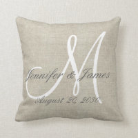 Rustic Linen Look with White Monogram Wedding Throw Pillow