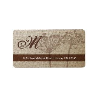 Rustic Linen Monogram Address Labels Custom Address Label
