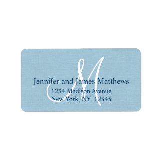Rustic Linen Monogram for Weddings Label