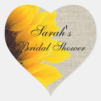 Rustic Linen Sunflower Bridal Shower Heart Sticker