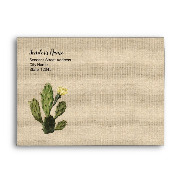 Rustic Linen Vintage Cactus Drawing Cute Envelope Zazzle Com