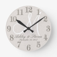 Rustic Linen with White Monogram Round Clock