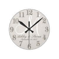 Rustic Linen with White Monogram Round Clock