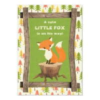 Rustic Little Fox Boy Baby Shower Card