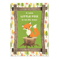 Rustic Little Fox Boy Baby Shower Card