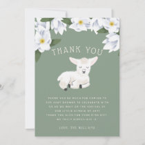 Rustic Little Lamb Floral Baby Shower Thank You Card