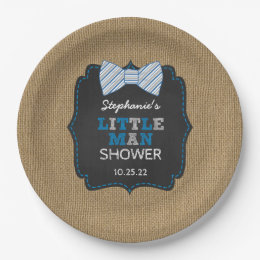 Rustic little man bow tie baby shower decor paper plate & Bow Man Plates | Zazzle
