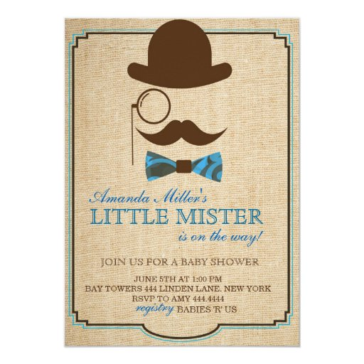 rustic little mister baby shower boy invitations