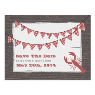 Rustic Lobster and Bunting Wedding Save The Date Postcard