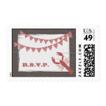 Rustic Lobster & Gingham Bunting R.S.V.P. Postage Stamps