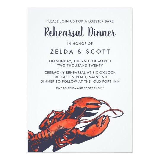 Rustic Lobster Wedding Rehearsal Dinner Invitation ...