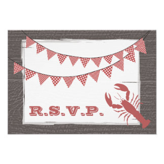 Rustic Lobster Wedding RSVP Personalized Invitation