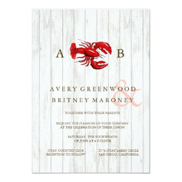 Beach Themed RUSTIC LOBSTER WOOD WEDDING INVITATION