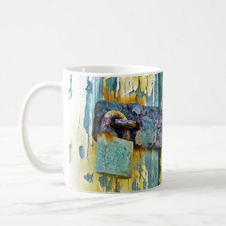 Rustic Lock Distressed Blue Barnwood Door Close Up Coffee Mug