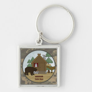 Rustic Lodge Cabin Keys with Bear and Moose Keychain