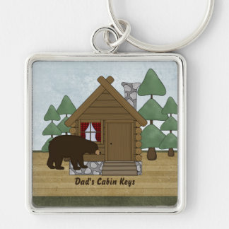 Rustic Lodge Cabin Keys with Personalized Name Silver-Colored Square Keychain
