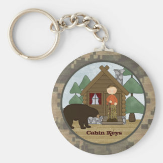 Rustic Lodge Camo Cabin Keys with Bear Keychain