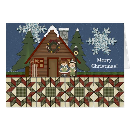 Rustic Lodge Country Cabin Christmas at Night Card
