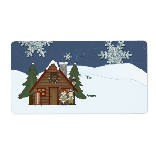 Rustic Lodge Country Cabin Christmas at Night Label