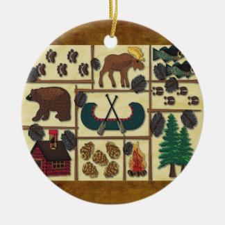 Rustic Lodge Country Cabin Christmas Ceramic Ornament