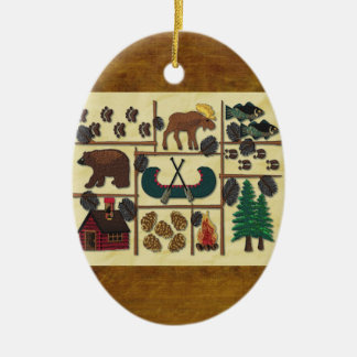 Rustic Lodge Country Cabin Christmas Ceramic Ornament