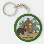 Rustic Lodge Country Cabin Keys with Bear Custom Basic Round Button Keychain